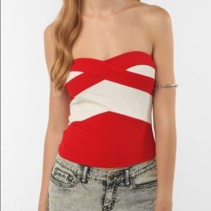 Urban Outfitters Red Bandage Strapless Top